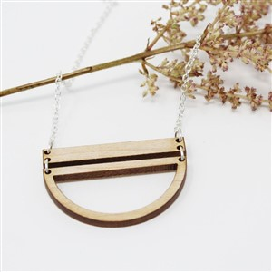 Wooden Pendant Necklace Emaye Design