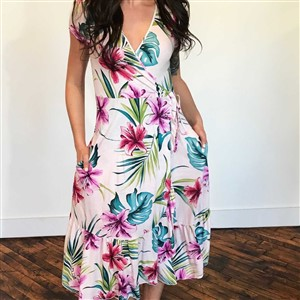 Plume and Thread Tropical Print Dress