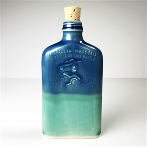 Blue Ceramic Ohio Prohibition Flask