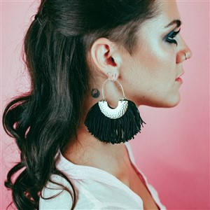 Black Fringe Hoop Earrings