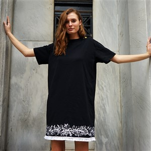 Black Dress with White Embroidery at Hem