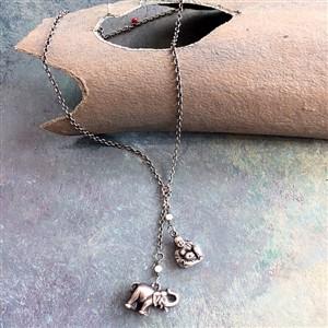 Elephant and Buddha Lariat Necklace