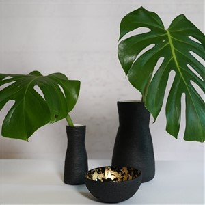 Carolyn Powers Designs Black Concrete Vases and Bowl