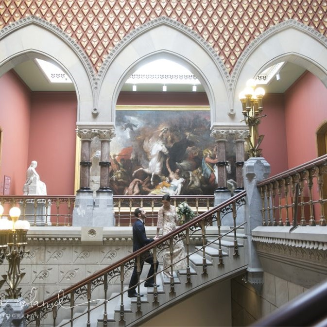 Bride and Groom on Stairs at PAFA by Heidi Roland Photography
