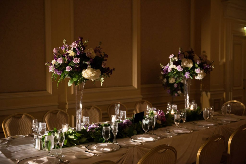 pf designs tall centerpieces long table