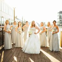 Bride and Bridesmaids outside of Music Box Supper Club Cleveland Wedding