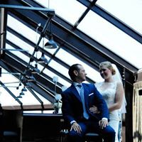 Bride and Groom portrait under glass roof at Music Box Supper Club Cleveland Wedding