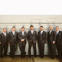 Groom and Groomsmen outside of Music Box Supper Club Cleveland