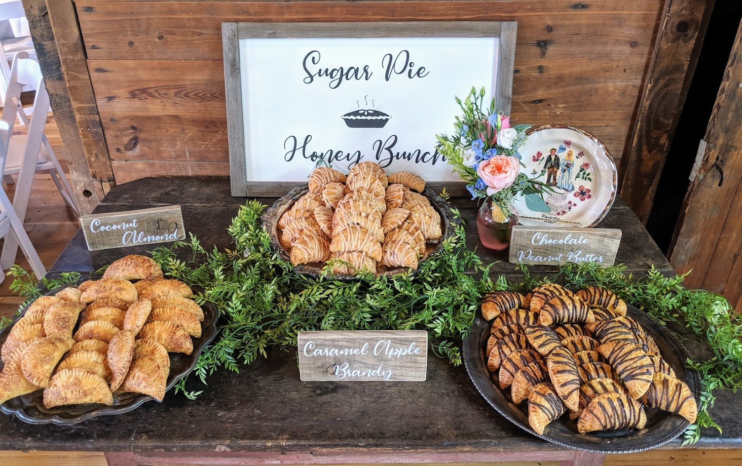 Variety of mini hand pies for wedding desserts