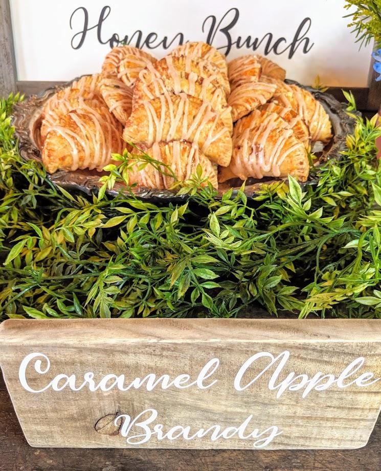 Caramel Apple Brandy mini hand pies in rustic crate
