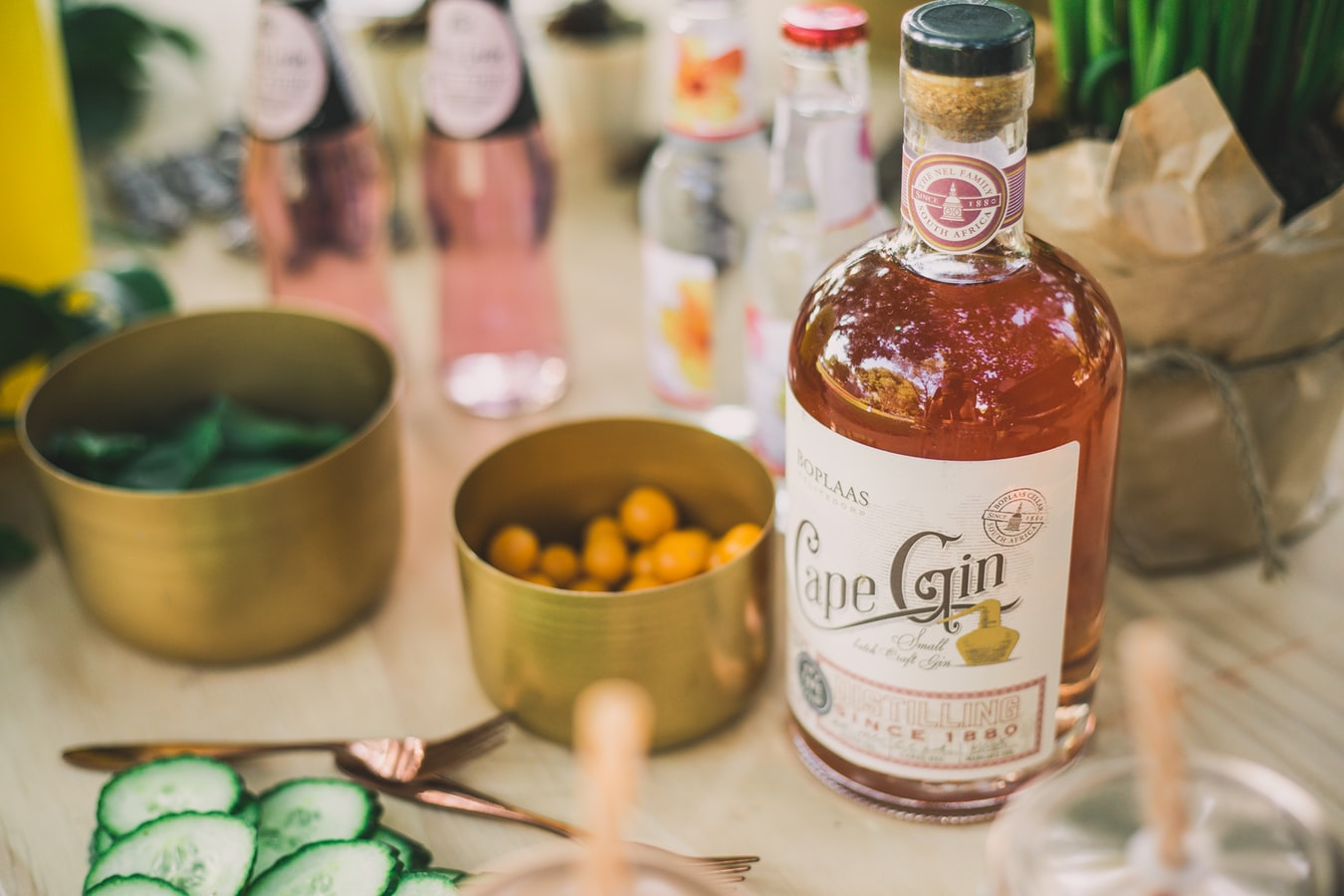 Gin and Garnishes on a Wedding Bar
