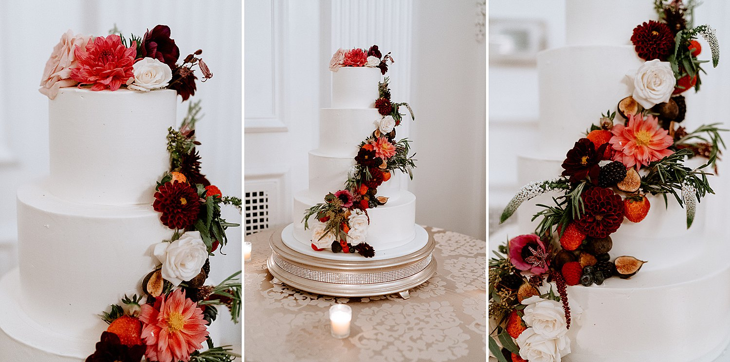 Four-tiered Wedding Cake Draped in Moody Flowers
